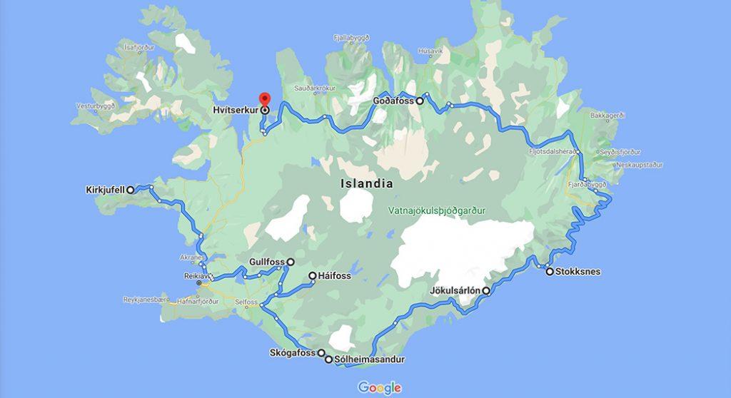 mapa Islandia aurora polar