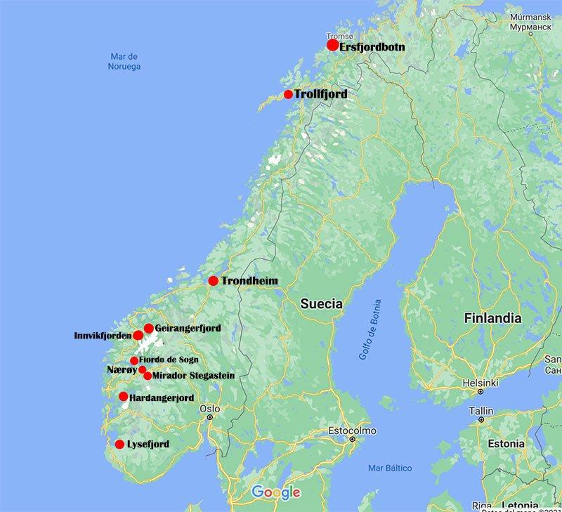 mapa fiordos noruegos