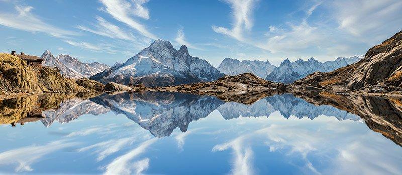 lago blanco o lac blanc, chamonix y alpes franceses