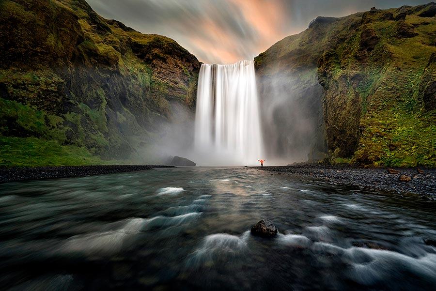 cascada islandia con filtro nd