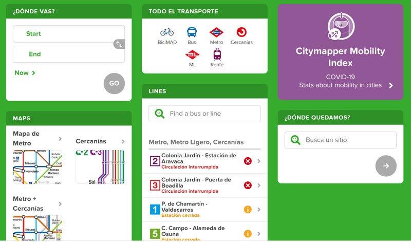 vista de citymapper de como usar la aplicacion