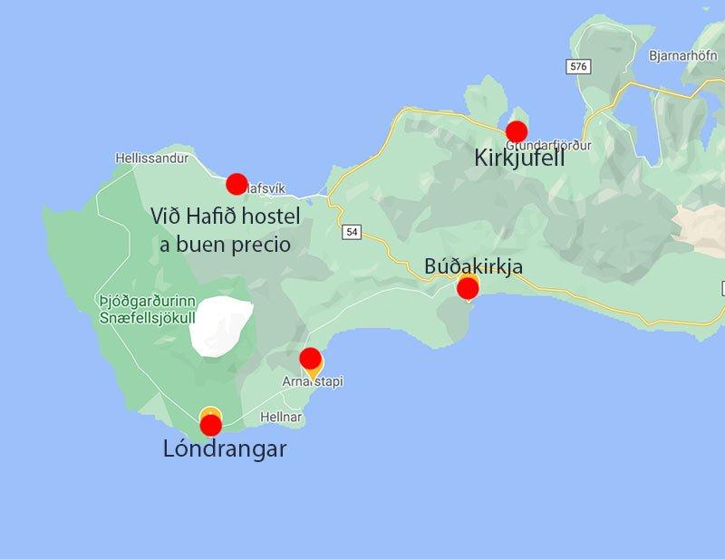 mapa islandia oeste